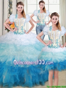 Perfect Sweetheart Brush Train Applique and Beaded Ruffled Detachable Quinceanera Dress in Multi Color