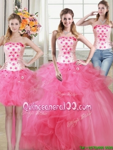 Pretty Puffy Strapless Hot Pink Detachable Quinceanera Dress with Appliques and Ruffles