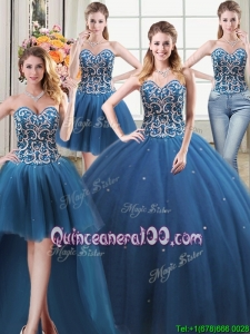 Pretty Puffy Sweetheart Tulle Beaded Bodice Detachable Quinceanera Dress in Teal