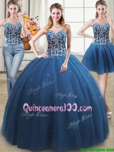 Pretty Tulle Teal Detachable Quinceanera Dress with Beading and Sequins