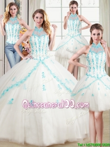 See Through Puffy Halter Top Tulle Detachable White Quinceanera Dress with Appliques and Beading