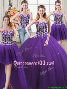 Three For One Tulle Ball Gown Sweetheart Purple Detachable Quinceanera Dress with Beading and Sequins