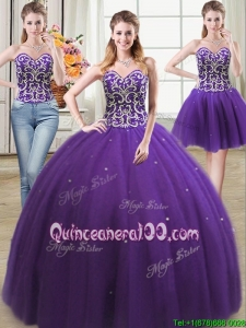 Two For One Beaded Bodice and Sequins Tulle Detachable Quinceanera Dress in Purple