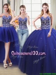 Unique Two For One Tulle Detachable Quinceanera Dress with Beading and Sequins