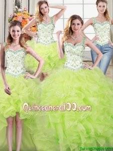 Wonderful Straps Ruffled and Beaded Yellow Green Detachable Quinceanera Dress in Organza