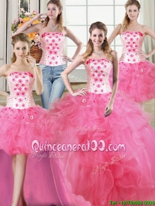 Three for One Strapless Tulle Hot Pink Detachable Quinceanera Dress with Beading and Ruffles