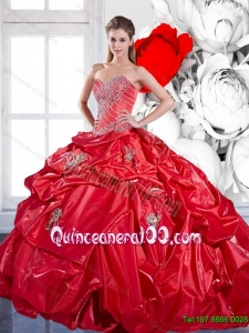 2015 Beading and Appliques Red Quinceanera Dresses with Brush Train and Pick Ups
