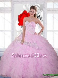 2015 Discount Beading and Ruffles Sweetheart Quinceanera Dresses in Baby Pink
