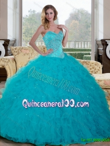 Luxurious Beading and Ruffles Sweetheart 2015 Quinceanera Dresses in Teal