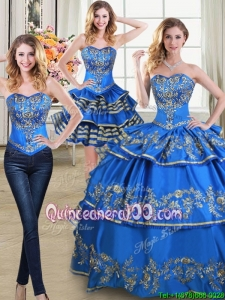 Beautiful Puffy Blue Detachable Quinceanera Dress with Embroidery and Ruffled Layers