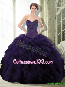 2015 Exclusive Dark Purple 15 Quinceanera Dress with Beading and Ruffle