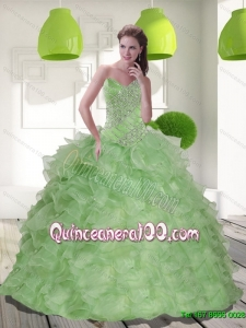 2015 Luxurious Sweetheart Quinceanera Dress with Beading and Ruffles