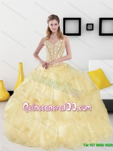 2015 Luxurious Sweetheart Quinceanera Dresses with Beading and Ruffled Layers