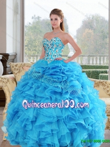 2015 Pretty Sweetheart Baby Blue 15 Quinceanera Dresses with Beading and Ruffles