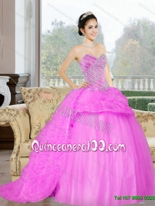 2015 Wonderful Court Train Sweet 16 Dress with Beading and Ruffles