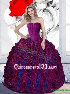 Exquisite Beading and Ruffles Sweetheart 2015 Quinceanera Dresses in Multi Color