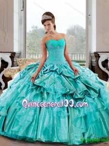 Flirting Sweetheart 2015 Quinceanera Gown with Appliques and Pick Ups