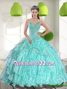 Latest Ball Gown Sweetheart Appliques and Beading 15 Quinceanera Dresses