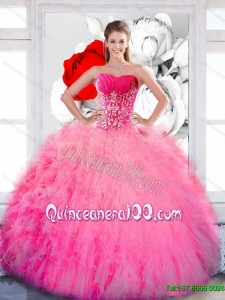 Luxurious Strapless 2015 Quinceanera Dresses with Ruffles and Appliques