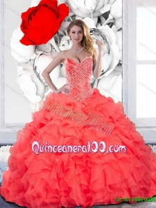 Remarkable Beading and Ruffles Sweetheart Quinceanera Dress for 2015