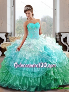 The Super Hot Sweetheart 2015 Quinceanera Gown with Appliques and Ruffled Layers