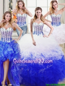 Luxurious Puffy Sweetheart Organza Beaded and Ruffled Quinceanera Dress in White and Blue