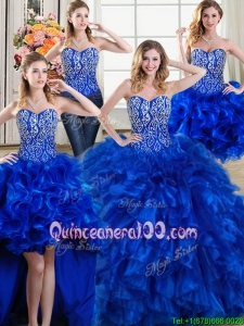 Modest Three for One Puffy Beaded and Ruffled Royal Blue Detachable Quinceanera Dress with Brush Train