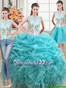 Two Piece Ruffled and Beaded Bodice Organza Detachable Quinceanera Dress in Aqua Blue