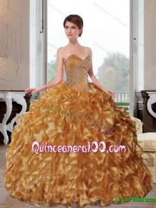2015 Luxurious Sweetheart Appliques and Ruffles Quinceanera Dresses