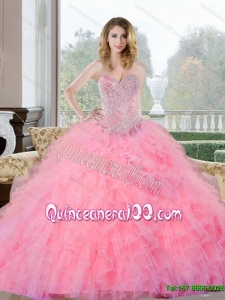 Colorful Beading and Ruffles Sweetheart Quinceanera Gown for 2015