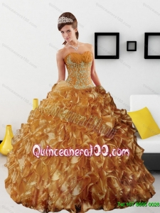 Sturning Appliques and Ruffles 2015 Wholesale Quinceanera Dress in Gold