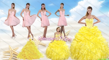 Yellow Sweetheart Beading Quinceanera Dress and Light Pink Short Prom Dresses and Ruffles and Beading Little Girl Dress