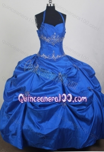 Beading and Appliques Taffeta Blue Quinceanera Dress with Halter Top