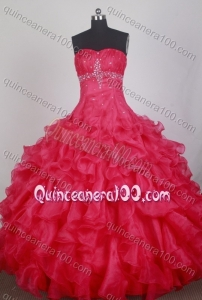 Exclusive Red Ball Gown Sweetheart Beading Quinceanera Dresses