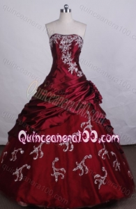 Exquisite Red Strapless Ball Gown Beading And Appliques Quinceanera Dresses