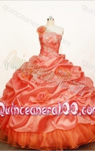 Gorgeous Orange Red Ball Gown One Shoulder Neck Quinceanera Dress with Appliques and Pick-Ups