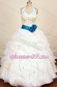Halter Top White Pretty Ball Gown Beading And Ruffles Quinceanera Dress