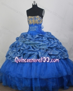 Strapless Ball Gown Appliques Quinceanera Dress Blue Organza