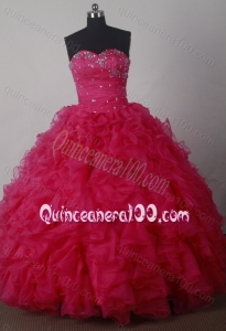 Ball Gown Beading and Ruffles Sweetheart Quinceanera Dresses in Red