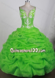 Beading and Appliques Spring Green Spaghetti Straps Quinceanera Dresses