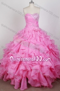 Beautiful Beading and Ruffles Ball Gown Sweetheart Rose Pink Quinceanera Dresses