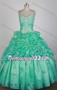 Beautiful Green Ball Gown Straps Appliques And Pick-ups Quinceanera Dress
