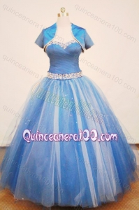 Beautiful Blue Ball Gown Straps Beading Quinceanera Dress