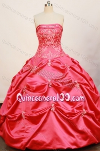 Cheap Ball Gown Strapless Coral Red Quinceanera Dress With Pick-ups And Embroidery
