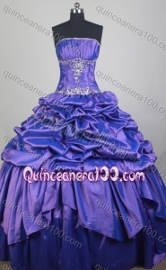 Classical Ball Gown Strapless Purple Pick-ups And Beading Quinceanera Dress With Appliques