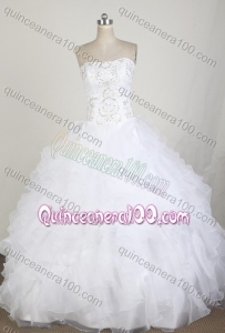 Classical White Ball Gown Strapless Embroidery And Ruffles Quinceanera Dress