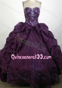 Dark Purple Ball Gown Beadings and Ruffles Sweetheart Quinceanera Dresses