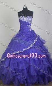 Exclusive Ball Gown Sweetheart Blue Ruffles And Appliques Quinceanera Dress With Beading