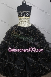 Exclusive Black Ball Gown Strapless Appliques And Ruffles Quinceanera Dress