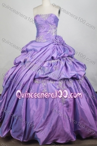 Exclusive Lavender Embroidery Ball Gown Strapless Quinceanera Dresses With Pick-ups